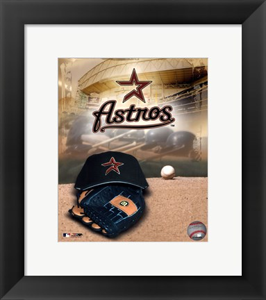 Framed Houston Astros - '05 Logo / Cap and Glove Print