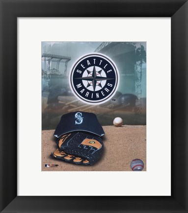 Framed Seattle Mariners - '05 Logo / Cap and Glove Print