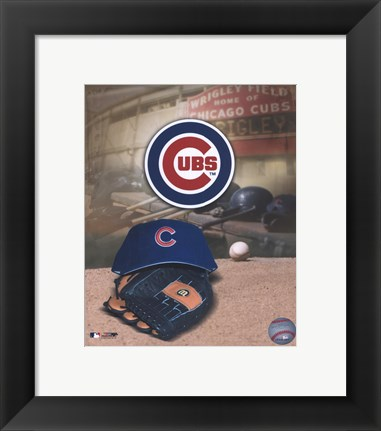 Framed Chicago Cubs - '05 Logo / Cap and Glove Print