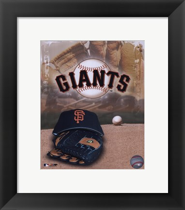 Framed San Francisco Giants - '05 Logo / Cap and Glove Print