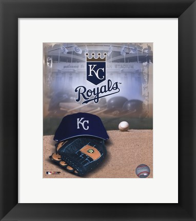 Framed Kansas City Royals - '05 Logo / Cap and Glove Print