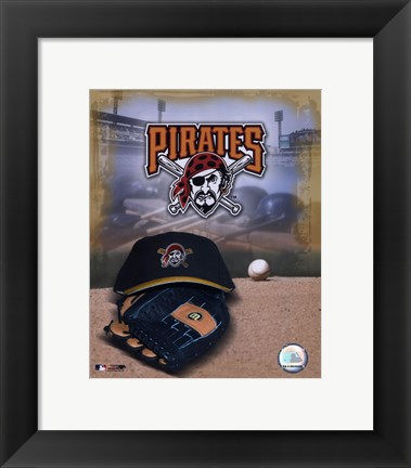 Framed Pittsburgh Pirates - '05 Logo / Cap and Glove Print