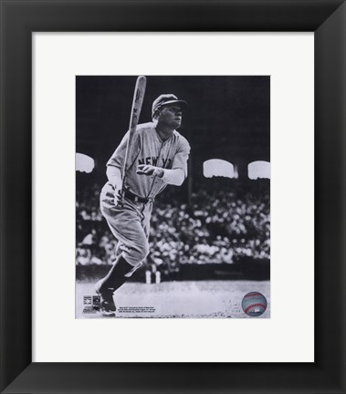 Framed Babe Ruth - Batting Action At The Stadium Print