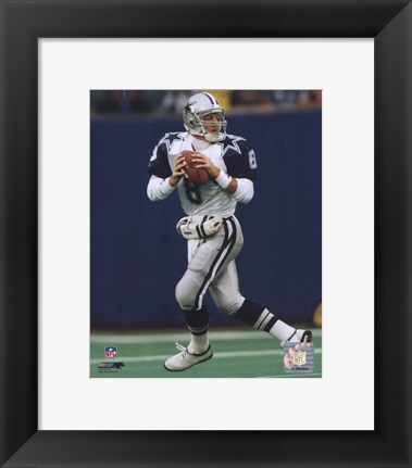 Framed Troy Aikman - Dropping Back Print