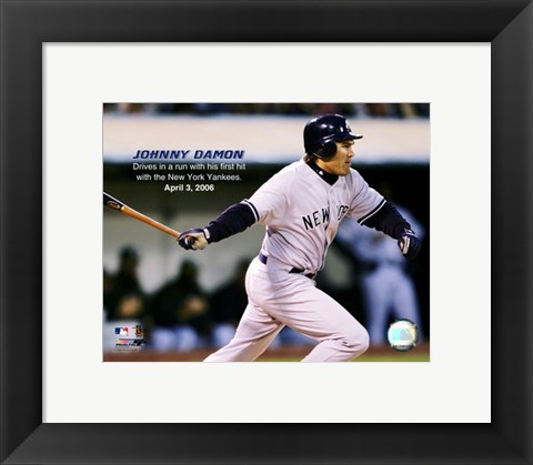 Framed Johnny Damon - 2006 1st Hit / (RBI) Print