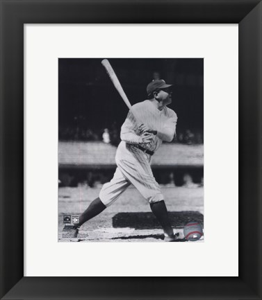 Framed Babe Ruth - Batting Action On The Field Print