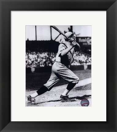 Framed Babe Ruth - Batting Action Print