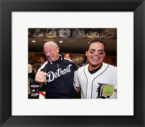 Framed Al Kaline & Ivan Rodriguez - 2006 ALDS Game 4 Celebration Print