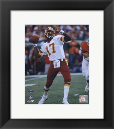 Framed Doug Williams Super Bowl XXII 1988 Passing Action Print
