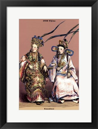Framed Chinese Concubines, 19th Century Print