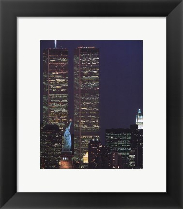 Framed Wtc With Statue Of Liberty Print