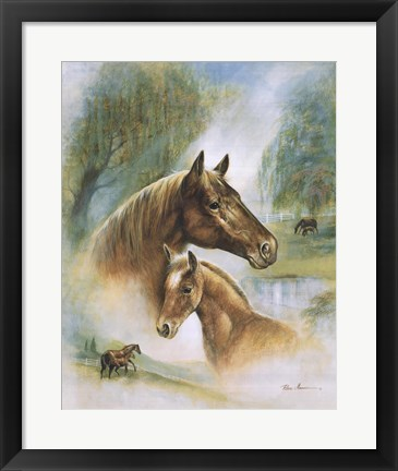 Framed Brown Mare And Fowl Print