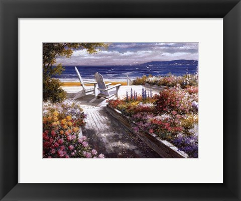 Framed Path With Beach Chairs Print