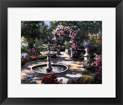 Framed Garden Fountain Print