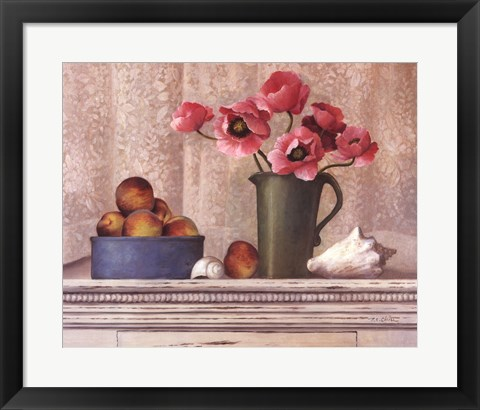 Framed Poppies, Peaches And Shells Print
