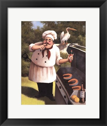Framed Barbecue Chef with Hot Sauce Print