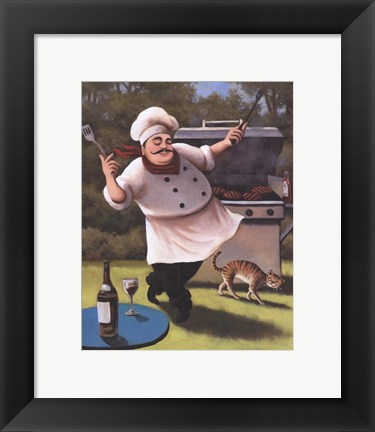Framed Barbecue Chef with Cat Print
