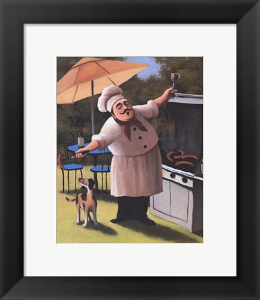 Framed Barbecue Chef with Dog Print