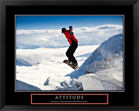 Framed Attitude - Snow Boarder Print