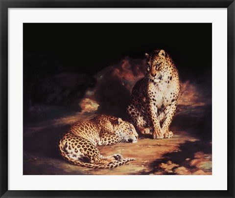 Framed Pair Of Leopards Print