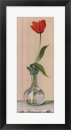 Framed Red Flower In Vase Print
