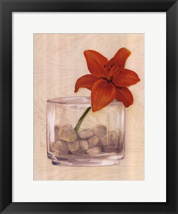 Framed Red Flower In Bowl With Rocks Print