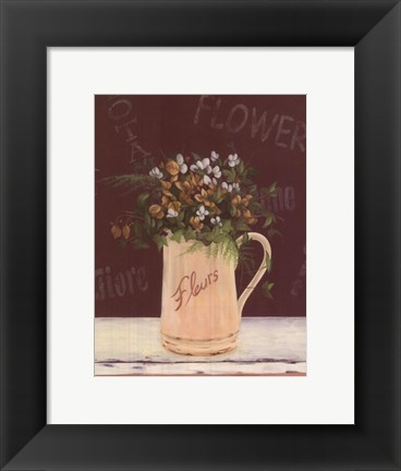 Framed White Yellow Flowers In Pitcher Print