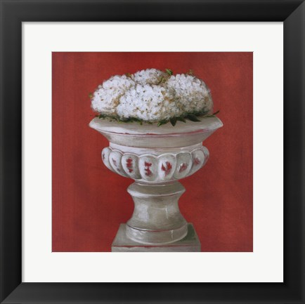 Framed White Flowers In Glass Pot Print