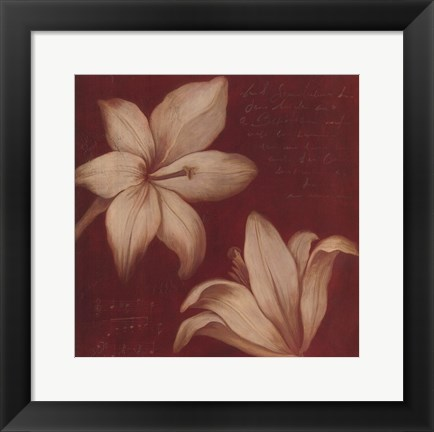 Framed Tan Flowers Print
