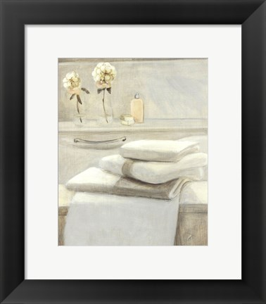Framed Towels Flowers On Shelf Print