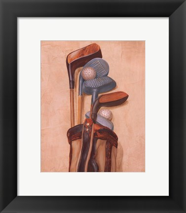 Framed Golf Bag With Two Balls Print