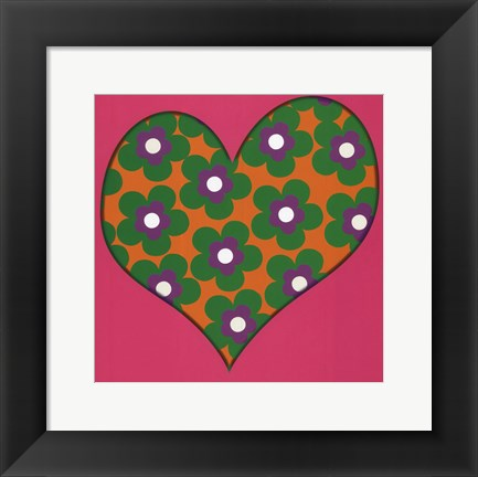 Framed Green Flowered Heart Print