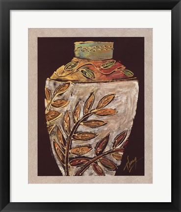Framed Sumach Leaf Pottery Print
