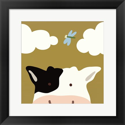 Framed Peek-A-Boo III Cow Print