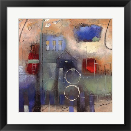 Framed City Houses II Print