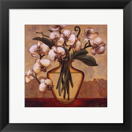 Framed White Autumn Orchids Print