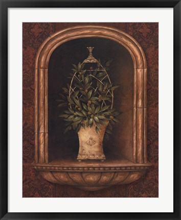 Framed Olive Topiary Niches I Print
