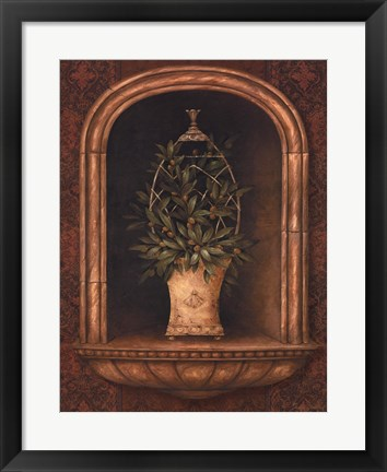 Framed Olive Topiary Niches I - Mini Print