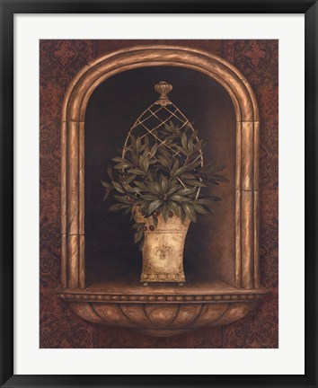 Framed Olive Topiary Niches II Print