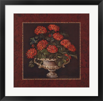 Framed Geraniums I Print