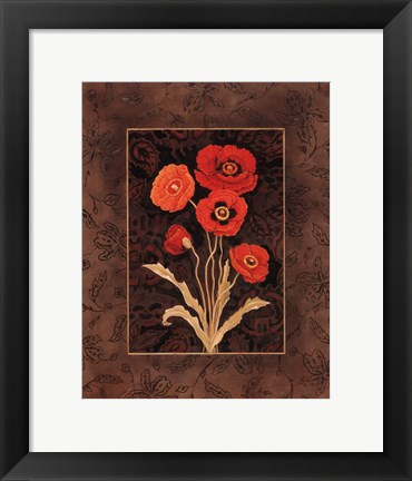 Framed Damask Poppies - Mini Print