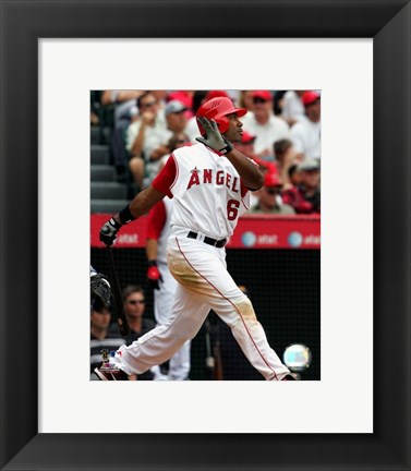 Framed Garret Anderson - 2007 Batting Action Print