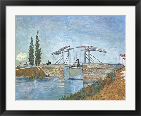 Framed Langlois Drawbridge at Arles, c.1888 Print