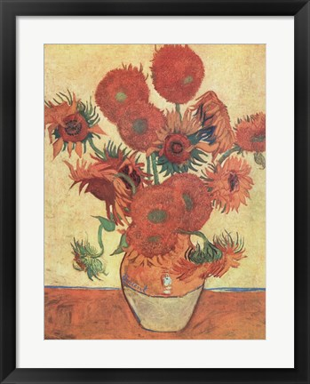 Framed Vase with Fifteen Sunflowers, c.1888 Print