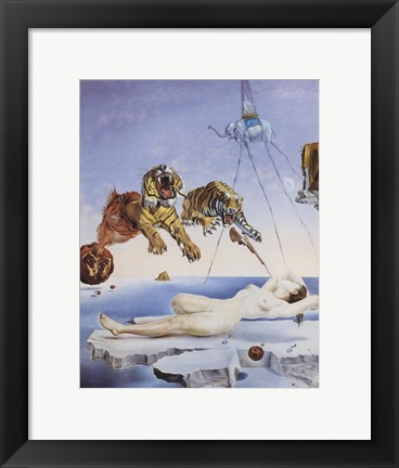 Framed Dream Caused by the Flight of a Bee Around a Pomegranate, A Second Before Awakening, c.1944 Print