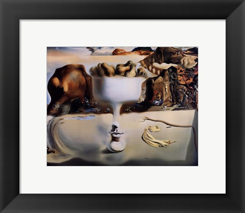 Framed Apparition of Face and Fruit Dish on a Beach, c.1938 Print