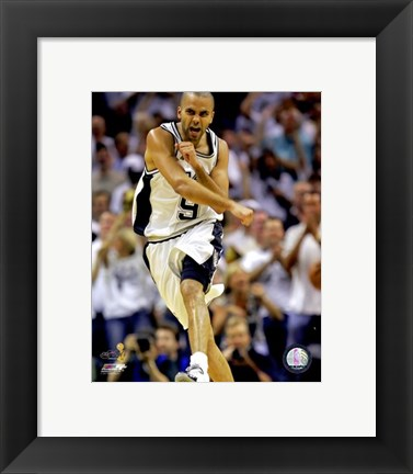 Framed Tony Parker - 2007 Finals  / Game 1 Celebrates (#1) Print