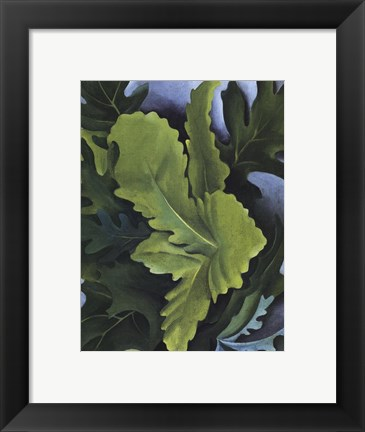 Framed Green Oak Leaves Print