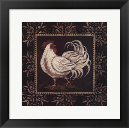 Framed Black & White Rooster II Print