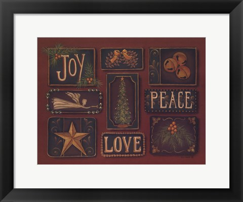 Framed Joy Peace Love Print